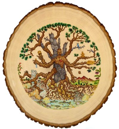 A self-portrait from my time as a middle school woodwork teacher at the Waldorf school. Full of symbolism, this piece is wood-burned and painted with acrylics on a basswood round.