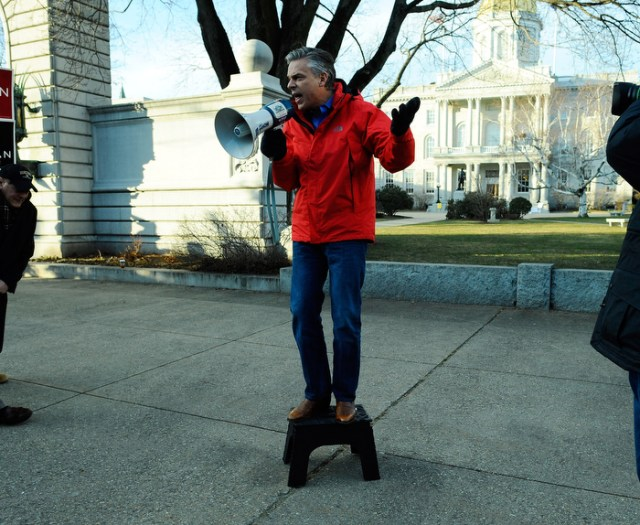 GOP candidate Jon Huntsman speaks to supporters in front of the capitol building in Concord, NH.