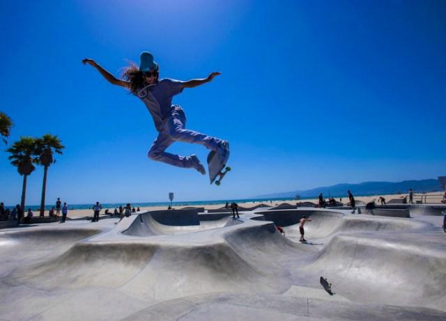 Skateboarding at Venice Beach, Los Angeles, CA on June 6, 2012