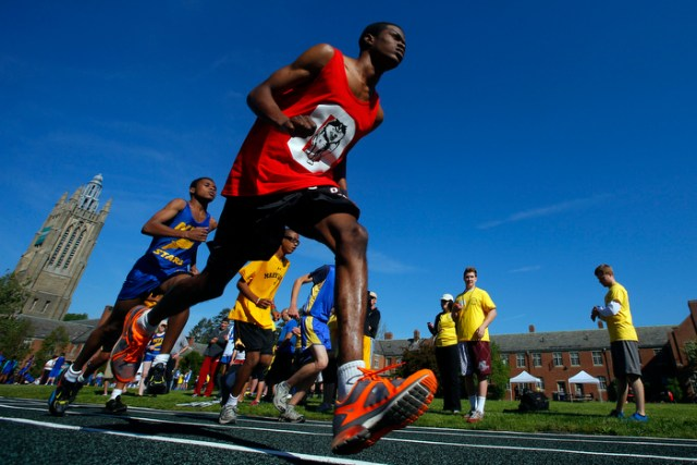 Zachary Watson, from the Overbrook School for the Blind, competes at the 67th annual Eastern Athletic Association for the Blind track and field tournament hosted at the Perkins School for the Blind in Watertown, Massachusetts May 18, 2013.