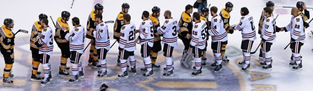The traditional post game hand shake line between the teams after the Blackhawks defeated the Bruins and won the Stanley Cup.