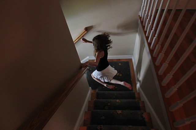 Nicole is lightening fast on her knees as she makes her way downstairs. She does not walk on her feet.