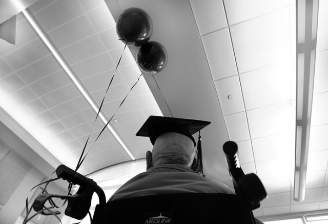Beverly, MA., 03/04/13, One-hundred-and-six-year-old Fred Butler received his high school diploma he never got during his long life. Beverly's oldest living resident, a WWII vet who left school early to help his mother raise his five siblings was honored at the high school.