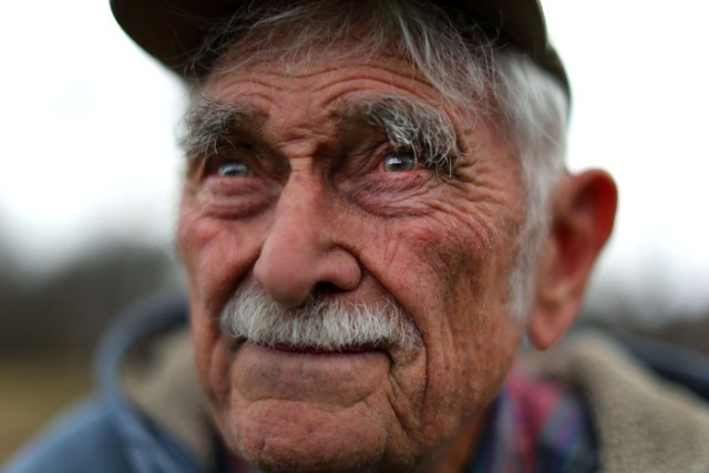"""Brockton-11/15/17  Joseph Gerry, 92 , """"The Chief"""" as his family calls him, has farmed his whole life at Gerry Farm in Brockton. He works every day and retirement of any sort isn't something he ever considers. Years in the outdoors has weathered his skin, and he doesn't seem to feel the cold."""