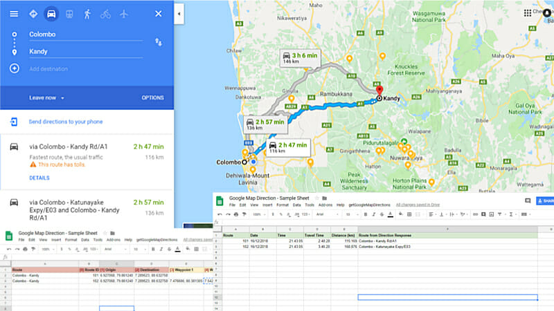 Automate Google Sheet to get Google Map Travel Time and Distance