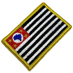 Bandeira Estado São Paulo Brasil Patch Bordada Fecho Contato