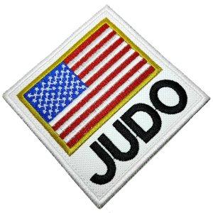 Judô bandeira EUA patch bordado passar a ferro ou costurar