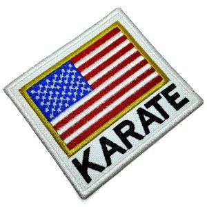 Karate Bandeira EUA Patch Bordado Termo Adesivo Para Kimono