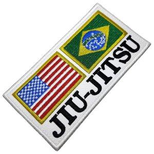 Jiu-Jitsu Bandeira Brasil EUA Patch Bordado Termo Adesivo