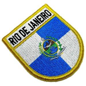 Bandeira Rio de Janeiro Patch Bordada, Fecho Contato Gancho