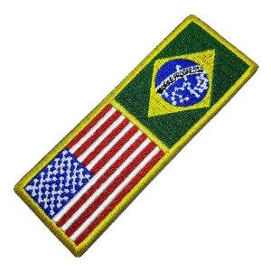 Bandeira EUA Estados Unidos Brasil Patch Bordada Para Kimono