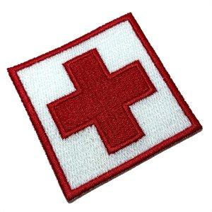 M0049T 01 Cruz Vermelha Patch Bordado Termo Adesivo Costura