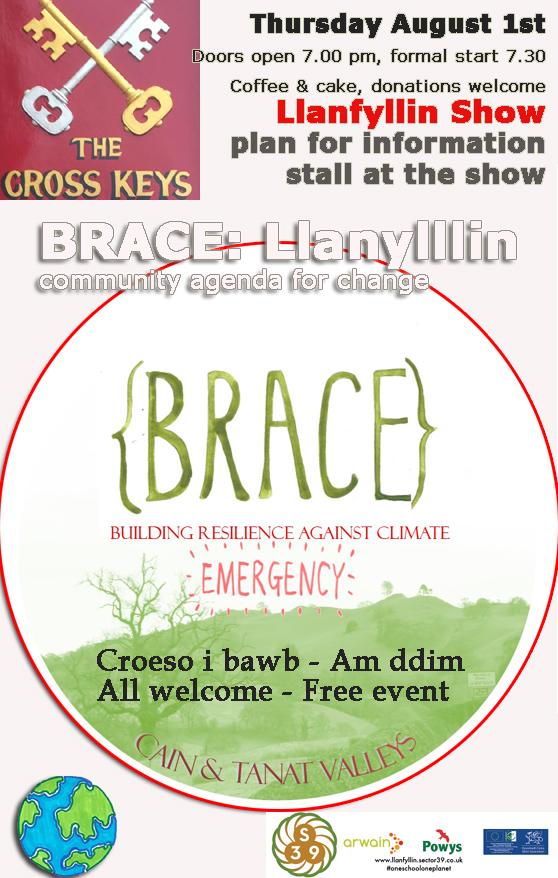 BRACE meeting August 1st, building resilience against cliamte emergency