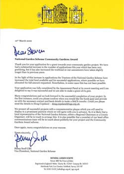 confirmation letter that the Community Horticulture Project application for a National Gardens Scheme Award was successful
