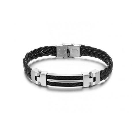 bracelet homme en cuir et acier