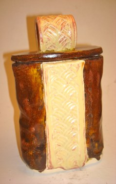 Lidded jar with ST Glaze accent and Jewel Brown