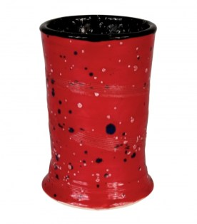 Vase glazed with Crystaltex colors CTL-1 Jet Moss and CTL-54 Firecracker