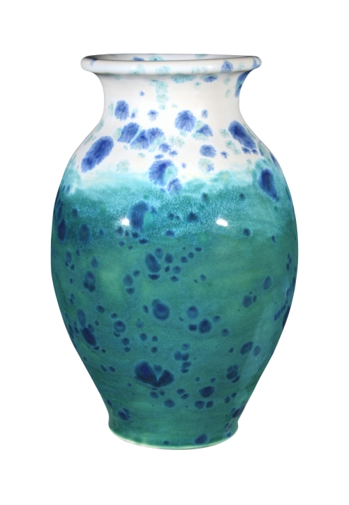 AMACO CTL-12 Mardi Gras and CTL-20 Royal Turquoise were used on this vase