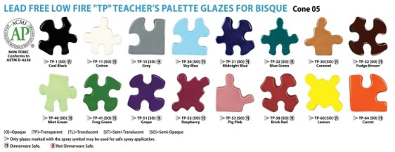 16 Colors of Teacher's Palette Glazes