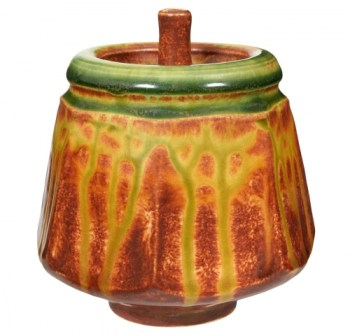 LG-36 Freckled brown was used on this pot along with AMACO MF-44 Chartreuse and MF-66 Burnt Orange. (photo courtesy AMACO)