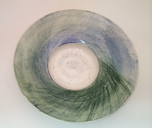 AMACO Chalks on Flint Hills Earthenware white, covered with AMACO LG-10 Clear