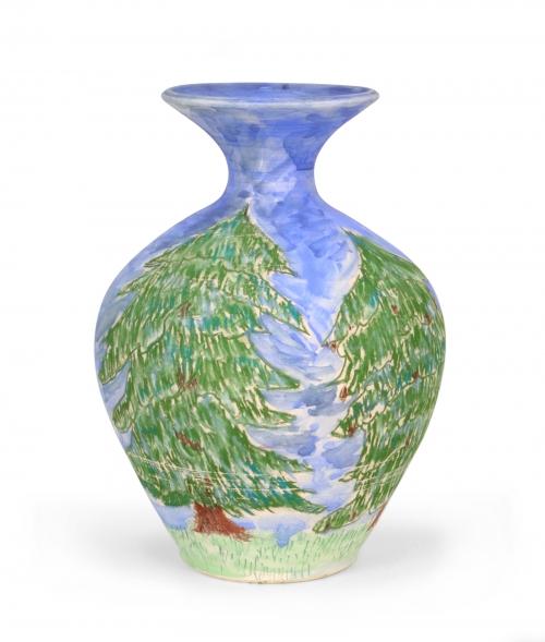 Test vase decorated with AMACO Underglaze Chalk Crayons and Semi-Moist Underglazes.: