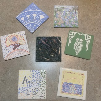 finished tiles, ready to mail back to Brackers for firing