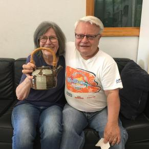 With Topeka Potter Larry Peters, and the Teapot he gave her to add to her collection