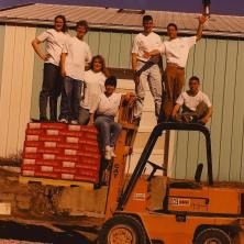 Another shot of the 1995 crew, very safely standing atop the forklift.