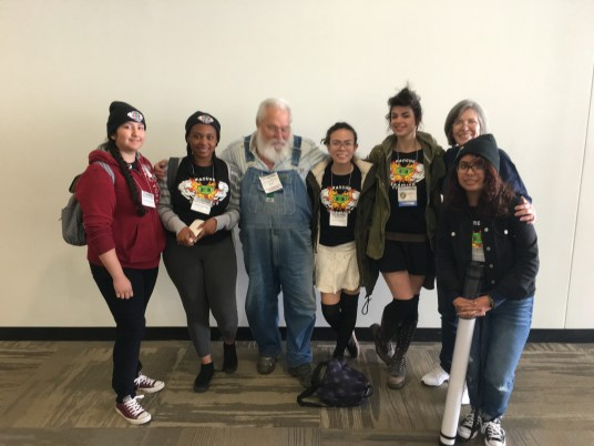 At the Kansas City NCECA with Dick Wukich and Cat Traen and her students (Anne & Dick provided significant donations to bring High School students like these to the conference)