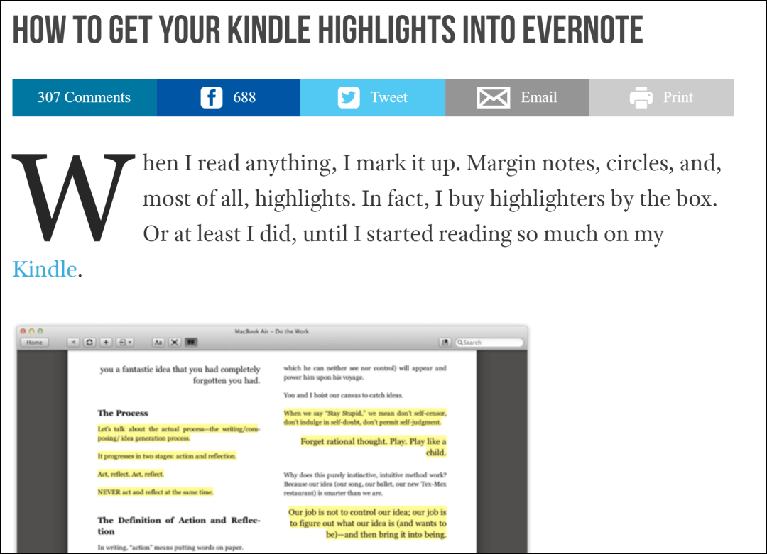 Excel Kindle Notes Highlights Export to Evernote
