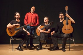 Victoria Guitar Trio with composer Jordan Nobles in Vancouver, 2014. Photo by Mark Mushet.