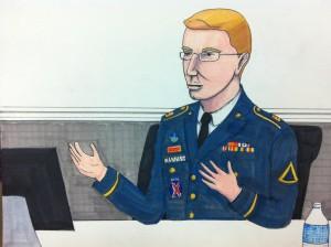 Bradley Manning, sketched by Clark Stoeckley of the Bradley Manning Support Netowrk