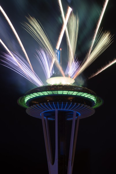 Fireworks over the Space Needle for the 2013 Seattle Seahawks win