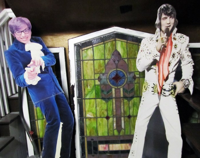 Elvis and Austin Powers in the basement of the Grove Haus.