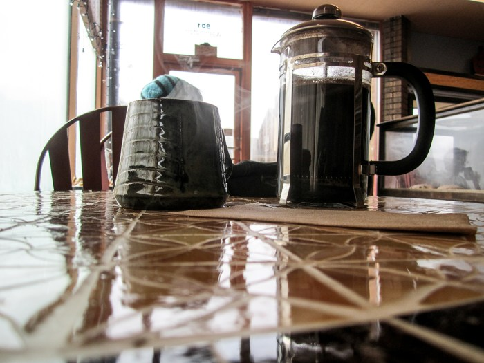 January 22nd. French press coffee. Columbus, IN.