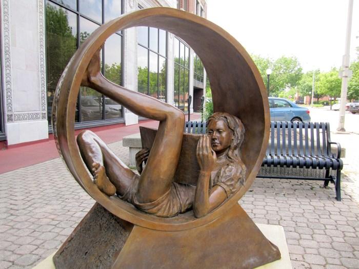 June 2nd: Scuplture of girl reading (Urbana, IL)