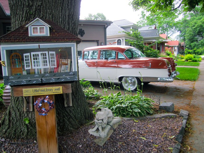 June 28th: Little Library and Antique Car