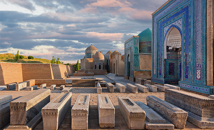 No trip to Samarkand is complete without visiting Shah-i Zinda, a magnificent collection of medieval tiled tombs © MehmetO, Shutterstock