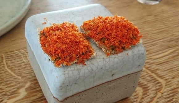 Shaved horsemussel on dried cod skin KOKS Faroe Islands by Laura Pidgley