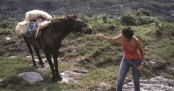 Peggy raises objections to Hilary in the Black Mountains © Hilary Bradt