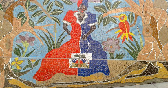 Street mosaics celebrating Catherine Flon, who first sewed the Haitian flag by Paul Clammer