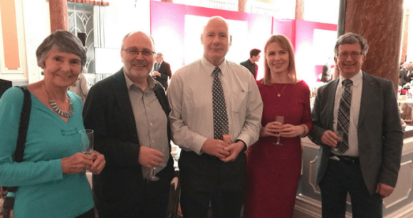Finalists in the Bradt New Travel Writer of the Year competition (Joanna Griffin, Alan Packer and Chris Walsh) at the Olympia London Pillar Hall with Hilary Bradt and Jonathan Lorie by Fiona Richards, Timeless Travels Magazine