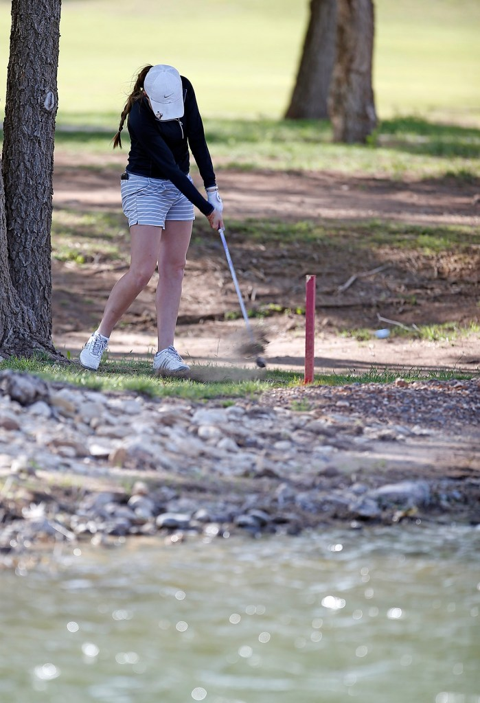 Pampa's Adeline Little hits the ball on the 11th hole