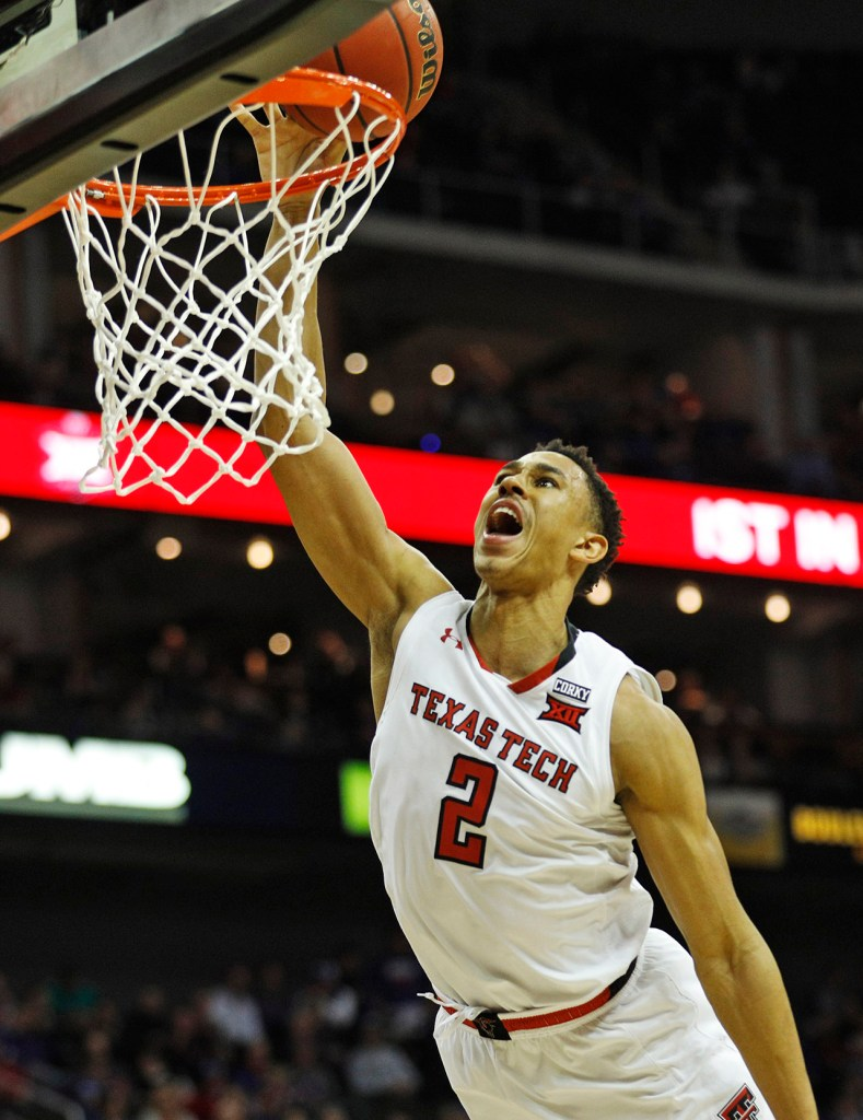 Texas Tech's Zhaire Smith (2) tries to dunk the ball during a Big 12 semifinal game against West Virginia, Friday, March 9, 2018, at the Sprint Center in Kansas City, Mo. [Brad Tollefson/A-J Media]