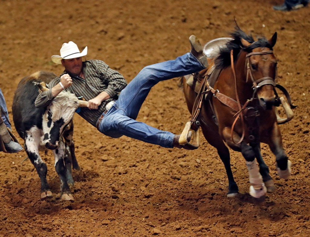 Levis Rudd, from Chelsea, Okla., jumps down on a steer during the ABC Pro Rodeo, Saturday, March 31, 2018, at Municipal Coliseum in Lubbock, Texas. [Brad Tollefson/A-J Media]