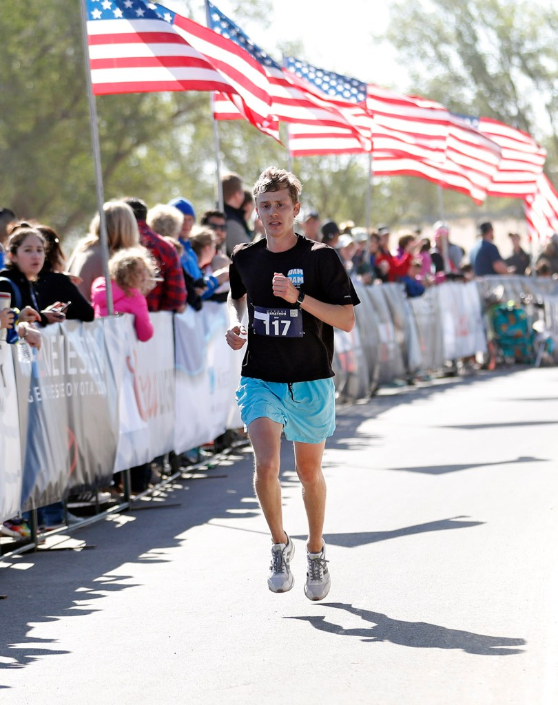 Jeff Chandler, from Lubbock, finishes first overall in the full marathon race during the Mayor's Marathon, Sunday, April 22, 2018, in Lubbock, Texas. [Brad Tollefson/A-J Media]