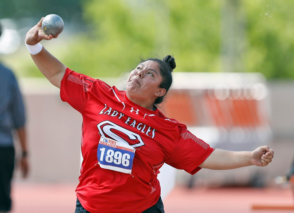 Seagraves Sirena Minjarez throws the shot put during the UIL State Track and Field meet, Friday, May 11, 2018, at Mike A. Myers Stadium in Austin, Texas. Minjarez finished second in the event with 40 foot 8.5 inch throw. [Brad Tollefson/A-J Media]