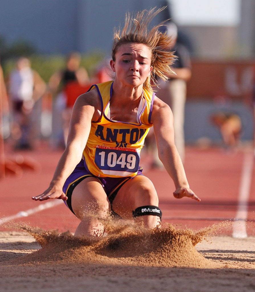 Anton's Kaitlyn Clardy lands in the sand pit during the UIL State Track and Field meet, Friday, May 11, 2018, at Mike A. Myers Stadium in Austin, Texas. [Brad Tollefson/A-J Media]