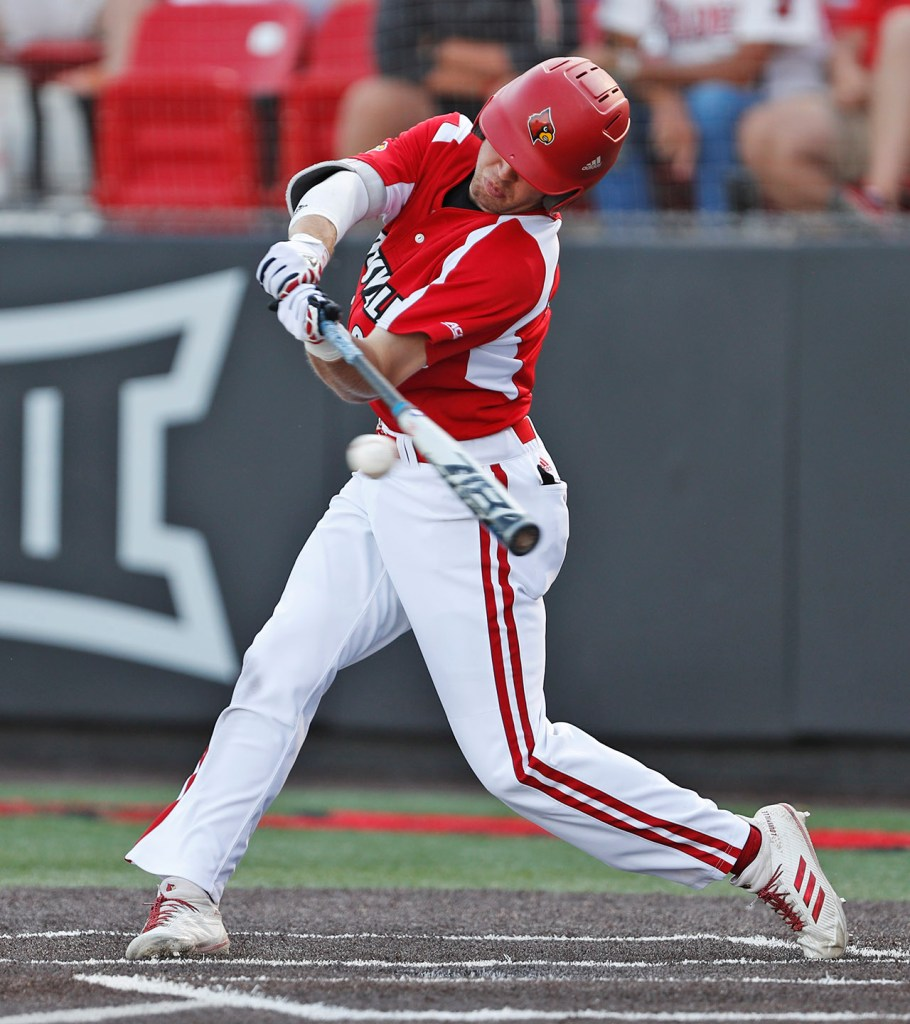 Louisville's Jake Snider (20) hits a single during an NCAA college baseball tournament regional game against Texas Tech, Sunday, June 3, 2018, in Lubbock, Texas. [Brad Tollefson/A-J Media]